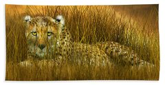 Cheetah - In The Wild Grass Hand Towel by Carol Cavalaris