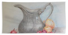 Hand Towel featuring the drawing Cherries Still Life by Marilyn Zalatan