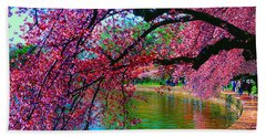 Cherry Blossom Walk Tidal Basin At 17th Street Hand Towel