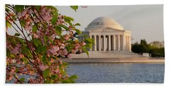 Hand Towel featuring the photograph Cherry Blossoms And The Jefferson Memorial 3 by Mitchell R Grosky