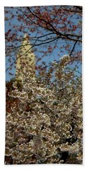Cherry Blossoms And The Monument Bath Towel