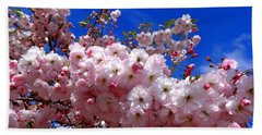 Cherry Blossoms Bath Towel by Nick Kloepping