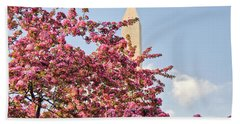 Hand Towel featuring the photograph Cherry Trees And Washington Monument One by Mitchell R Grosky
