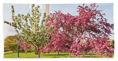Hand Towel featuring the photograph Cherry Trees And Washington Monument Three by Mitchell R Grosky