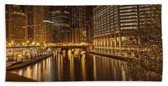 Bath Towel featuring the photograph Chicago At Night by Daniel Sheldon