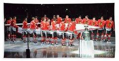 Bath Towel featuring the photograph Chicago Blackhawks And The Banner by Melissa Goodrich