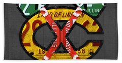 Chicago Blackhawks Hockey Team Retro Logo Vintage Recycled Illinois License Plate Art Hand Towel by Design Turnpike