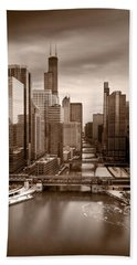 Chicago City View Afternoon B And W Hand Towel