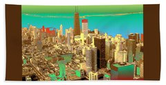 Chicago Pop Art In Blue Green Red Yellow Bath Towel