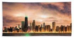 Chicago Gotham City Skyline Panorama Hand Towel