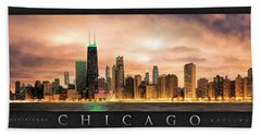 Chicago Gotham City Skyline Panorama Poster Hand Towel by Christopher Arndt