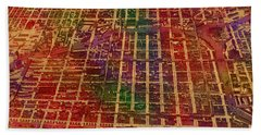 Chicago Illinois Map Business District 1898 Birds Eye View Watercolor Painting On Parchment  Hand Towel