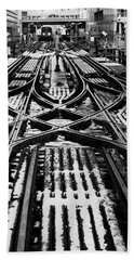 Bath Towel featuring the photograph Chicago 'l' Tracks Winter by Kyle Hanson