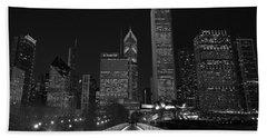Chicago Lights B W Hand Towel