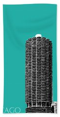 Chicago Skyline Marina Towers - Teal Hand Towel