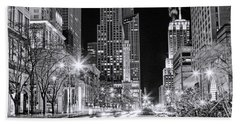Chicago Michigan Avenue Light Streak Black And White Bath Towel