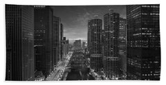 Chicago River Sunset B W Hand Towel