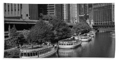 Chicago River Tour Boats B W Hand Towel