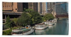 Chicago River Tour Boats Hand Towel