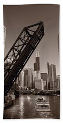 Chicago River Traffic Bw Hand Towel