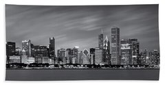 Chicago Skyline At Night Black And White Panoramic Bath Towel by Adam Romanowicz
