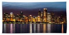 Chicago Skyline At Night Panoramic Hand Towel