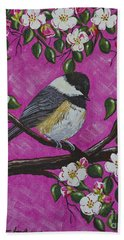 Chickadee In Apple Blossoms Hand Towel