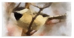 Chickadee Watercolor Hand Towel by Kerri Farley