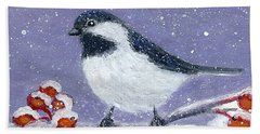 Hand Towel featuring the painting Chickadee Winter by Fran Brooks