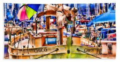 Chico Sail Boat By Diana Sainz Hand Towel