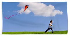 Child Flying A Kite Hand Towel