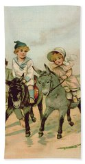 Children Riding Donkeys At The Seaside Hand Towel