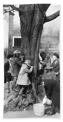 Children Tapping Maple Trees Hand Towel