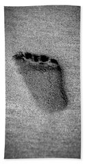 Bath Towel featuring the photograph Child's Foot Print In The Sand by Aaron Berg