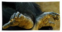 Chimpanzee Feet Hand Towel by Clare Bevan