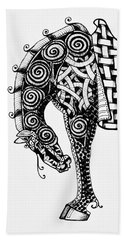 Bath Towel featuring the drawing Chinese Horse - Zentangle by Jani Freimann