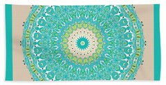 Bath Towel featuring the digital art Chinese Kite Teal Mandala by Joy McKenzie