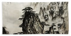 Bath Towel featuring the painting Chinese Mountains With Poem In Ink Brush Calligraphy Of Love Poem by Peter v Quenter