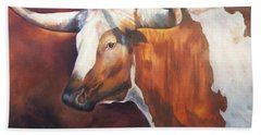 Hand Towel featuring the painting Chisholm Longhorn by Karen Kennedy Chatham