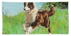 Chocolate Border Collie In Meadow Bath Towel