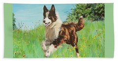 Chocolate Border Collie In Meadow Hand Towel