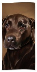 Chocolate Lab Bath Towel by Michael Spano