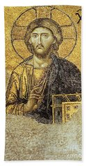 Christ Pantocrator-detail Of Deesis Mosaic Hagia Sophia-judgement Day Bath Towel