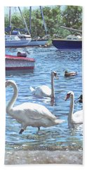 Bath Towel featuring the painting Christchurch Harbour Swans And Boats by Martin Davey