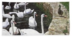 christchurch harbour swans with Mallard Duck conversation Hand Towel