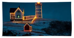 Christmas At Nubble Light Hand Towel