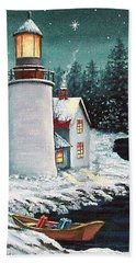 Hand Towel featuring the painting Christmas At The Light by Fran Brooks