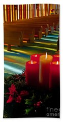 Christmas Candles At Church Art Prints Hand Towel by Valerie Garner