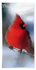 Christmas Card - Cardinal Bath Towel