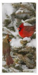 Christmas Card With Cardinals Bath Towel by Mircea Costina Photography